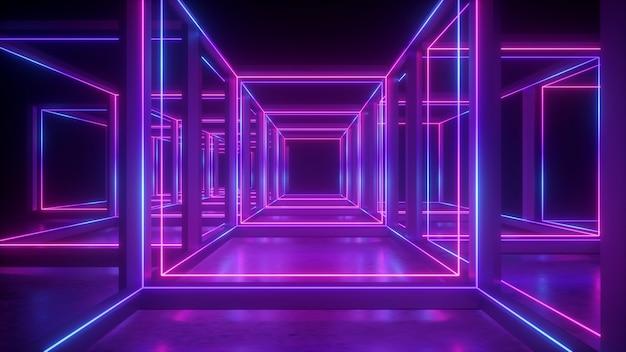 Renderização 3d de néon abstrato geométrico com forma cúbica e linhas brilhantes