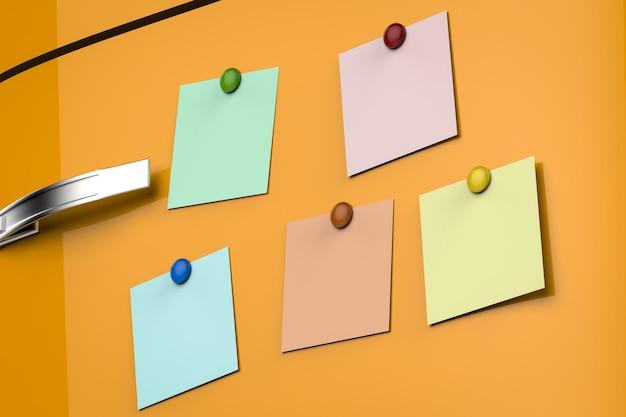 Renderização 3d de notas vazias na geladeira amarela