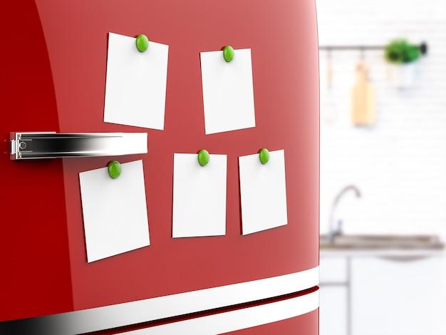 Renderização 3d de notas vazias na geladeira vermelha