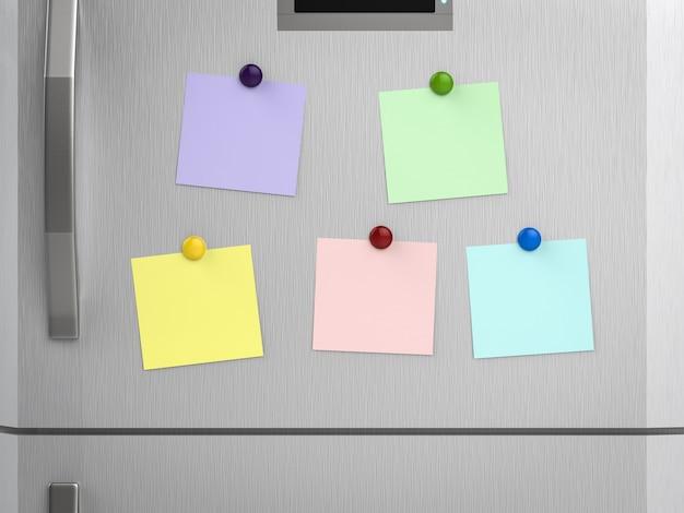 Renderização 3d de notas vazias na geladeira