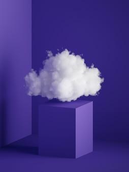 Renderização 3d de nuvem branca fofa acima do pedestal do cubo