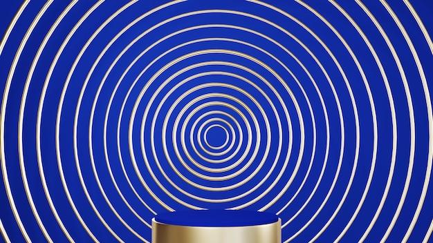Renderização 3d de ouro e pódio azul para exibir produtos em um fundo de sala azul. maquete para mostrar o produto.