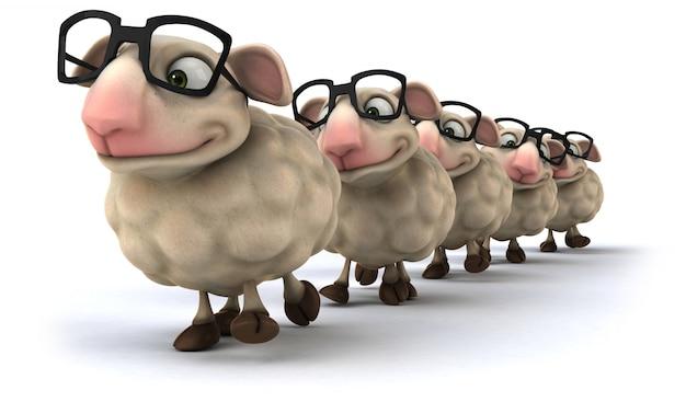 Renderização 3d de ovelhas engraçadas
