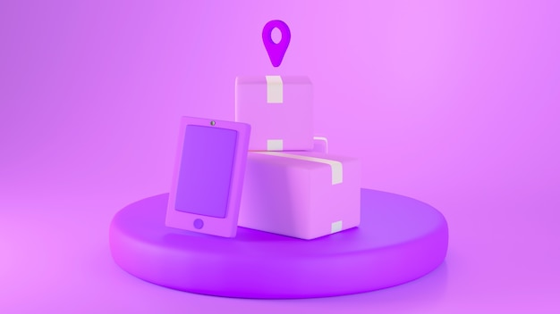 Renderização 3d de pacotes roxos, smartphone e ícone de localização em um pódio isolado em fundo roxo