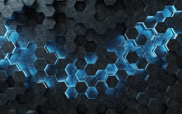 Renderização 3d de padrão de fundo hexágonos preto e azul