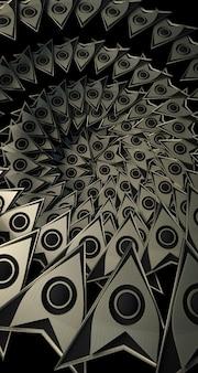 Renderização 3d de padrões em forma de seta