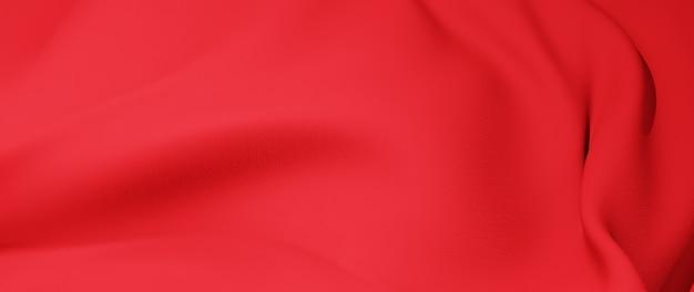 Renderização 3d de pano vermelho. fundo abstrato.