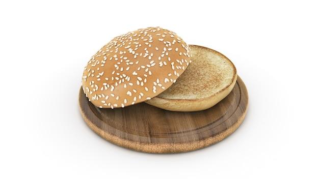 Renderização 3d de pão de hambúrguer aberto