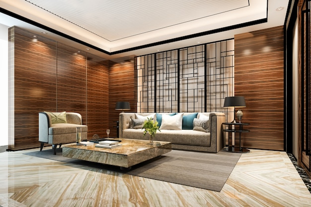 Renderização 3d de parede clássica luxuosa na sala de estar e hall do saguão do hotel