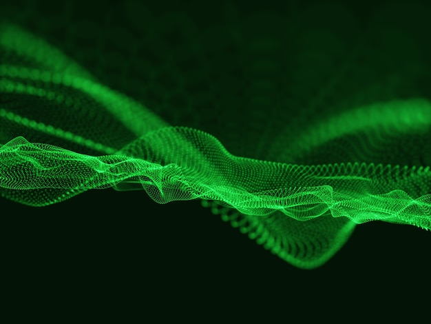 Renderização 3d de partículas de dados. fundo de tecnologia de partículas cibernéticas fluindo