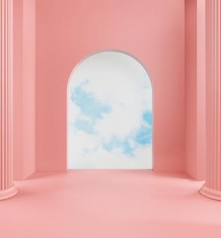 Renderização 3d de passarela rosa
