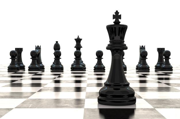 Renderização 3d de peças de xadrez em um tabuleiro de xadrez brilhante