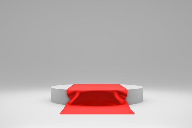 Renderização 3d de pedestal branco com tapete vermelho