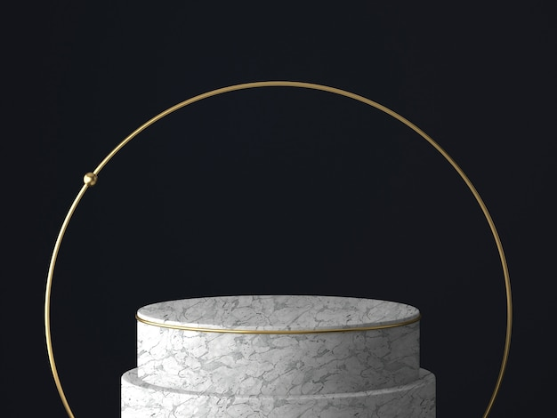 Renderização 3d de pedestal branco e dourado, isolado na parede preta, moldura redonda de ouro, quadro memorial, degraus de cilindro, conceito mínimo abstrato, espaço em branco, design limpo, luxo minimalista