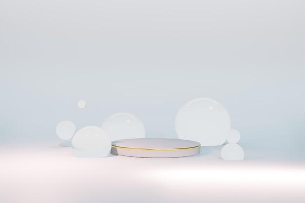 Renderização 3d de pedestal com esferas