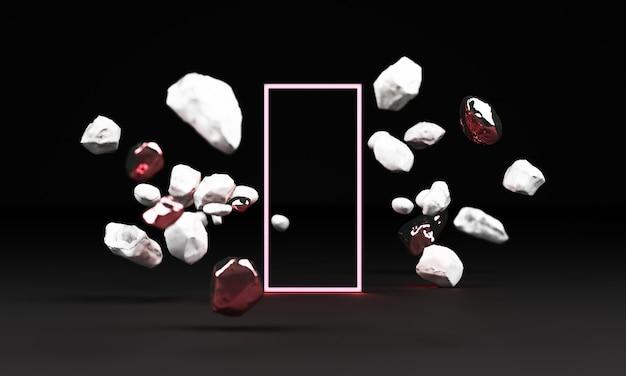 Renderização 3d de pedestal de mármore branco isolada no fundo preto