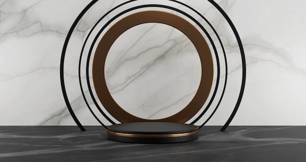 Renderização 3d de pedestal de mármore preto, isolado no fundo de mármore branco, conceito mínimo abstrato, espaço em branco