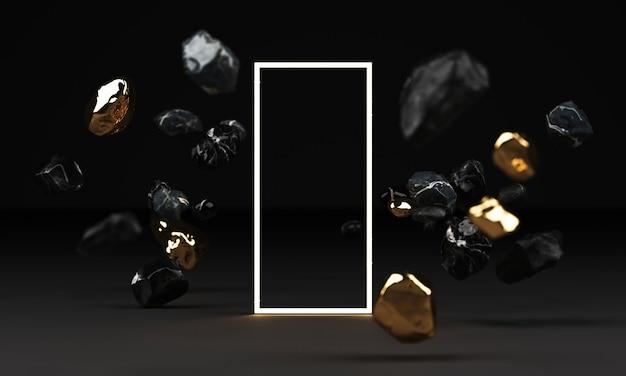 Renderização 3d de pedestal de mármore preto isolado no preto com moldura de iluminação led e rocha de forma livre
