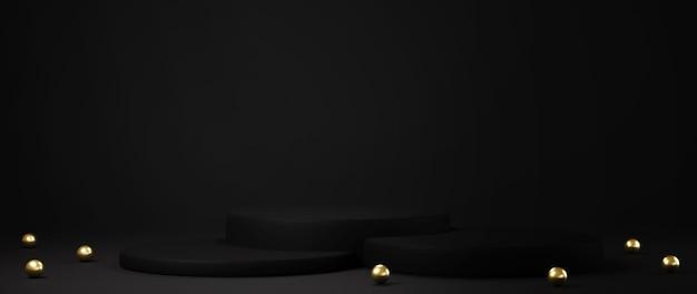 Renderização 3d de pedestal isolado em fundo preto, moldura dourada, quadro memorial, conceito mínimo abstrato, maquete minimalista de luxo