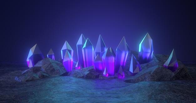 Renderização 3d de pedra bruta e cristal azul.
