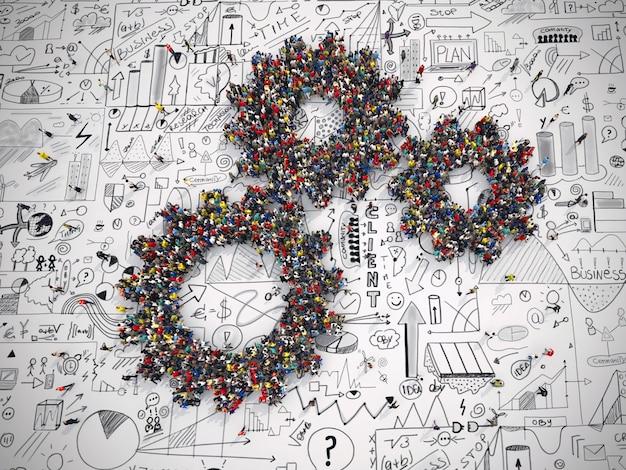 Renderização 3d de pessoas unidas de duas engrenagens na superfície dos gráficos de análise de negócios