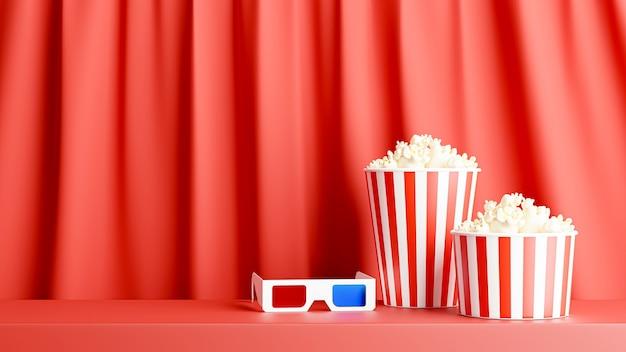 Renderização 3d de pipoca e óculos 3d para a hora do cinema