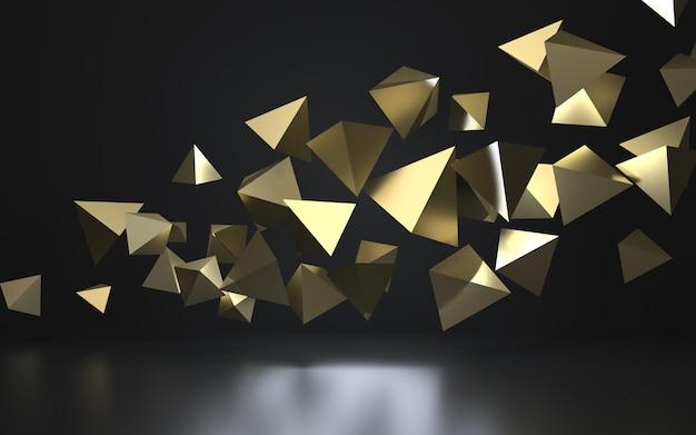 Renderização 3d de pirâmides douradas flutuantes no escuro