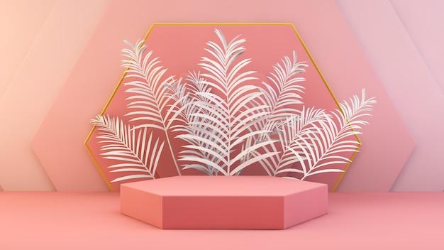 Renderização 3d de plataforma geométrica rosa