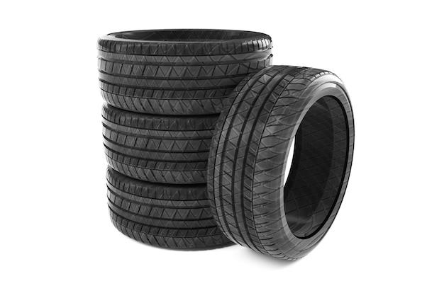Renderização 3d de pneus de caminhão em um fundo branco