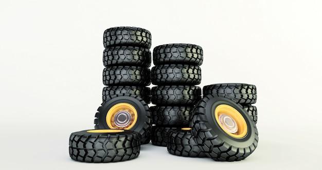 Renderização 3d de pneus de carro isolado no branco