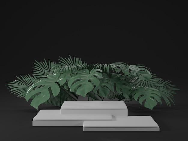 Renderização 3d de pódio branco com folhas de monstera