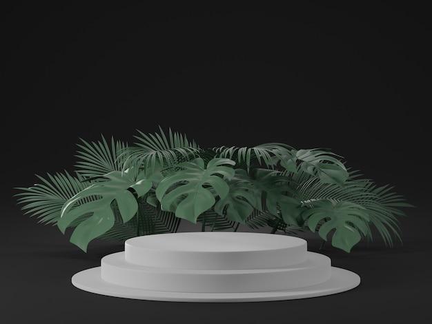 Renderização 3d de pódio branco e folhas de monstera