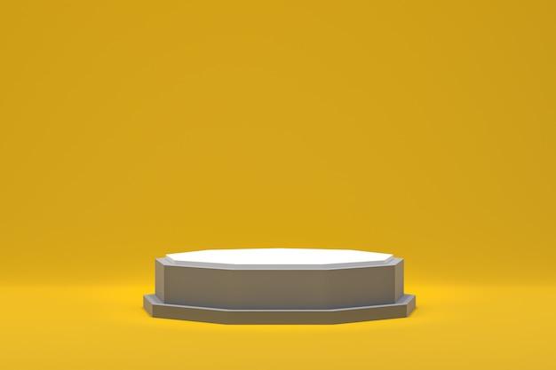 Renderização 3d de pódio branco e superfícies amarelas