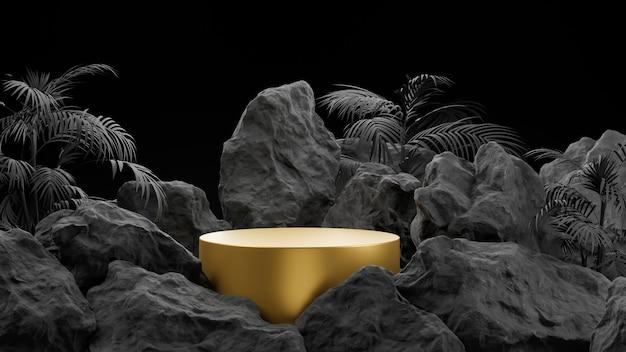 Renderização 3d de pódio de ouro e pedra para exposição de produtos