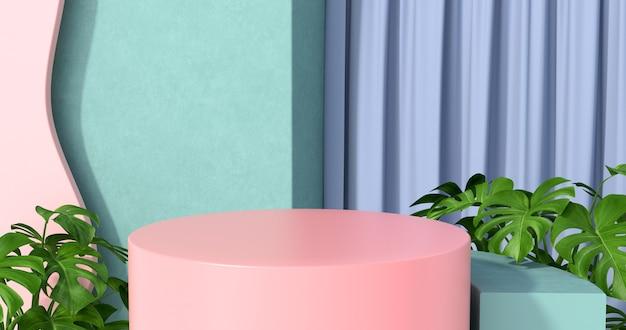 Renderização 3d de pódio rosa e plantas