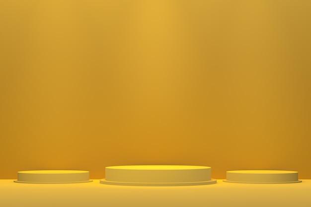 Renderização 3d de pódios amarelos