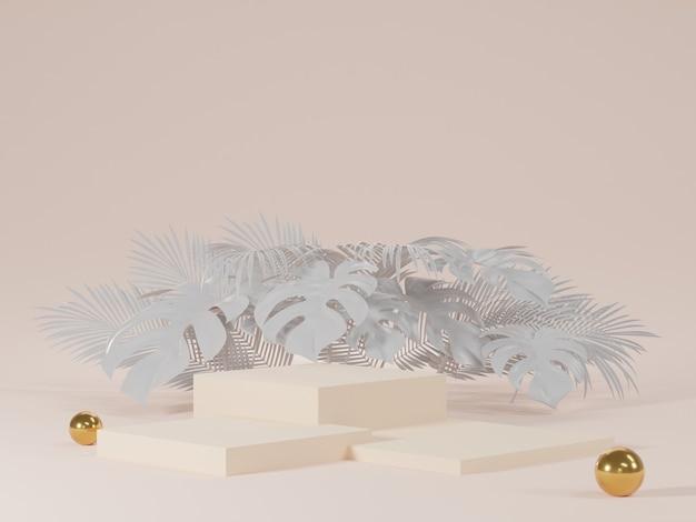 Renderização 3d de pódios brancos com folhas de monstera