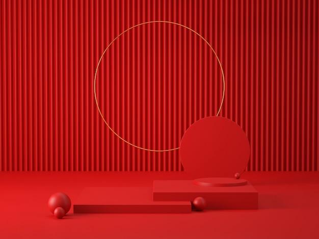 Renderização 3d de pódios vermelhos