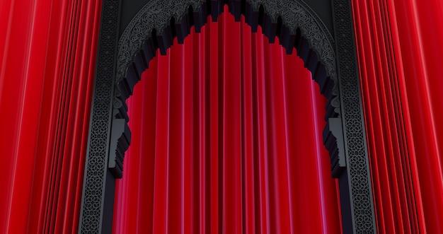 Renderização 3d de porta árabe preta com cortina vermelha, conceito vip
