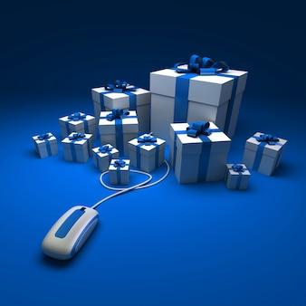 Renderização 3d de presentes brancos e azuis conectados a um mouse de computador contra uma superfície azul