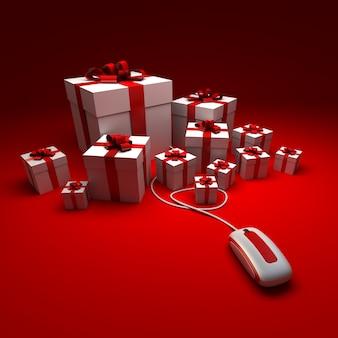 Renderização 3d de presentes brancos e vermelhos conectados a um mouse de computador contra uma superfície vermelha