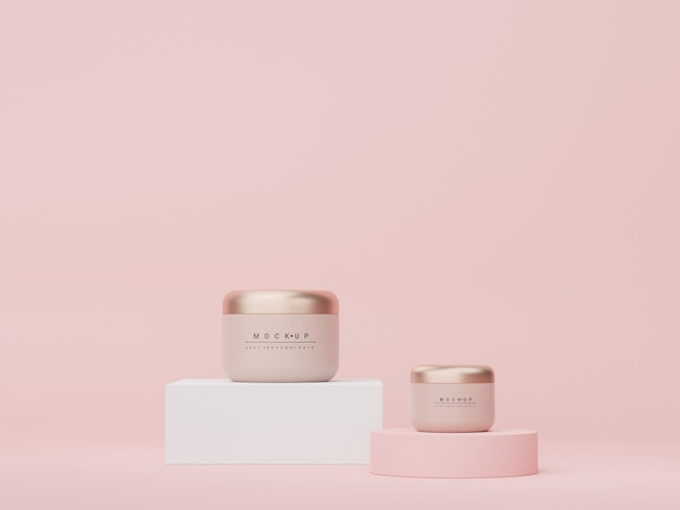 Renderização 3d de produtos cosméticos para a pele em branco ou embalagem para simulação de sabonete de beleza e conceito de spa