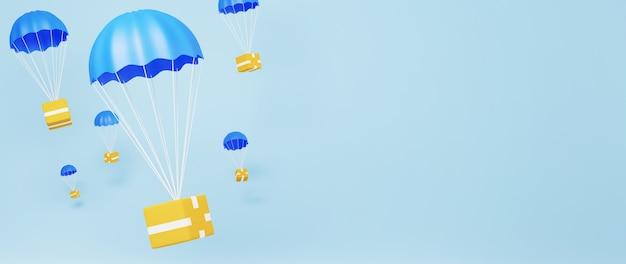 Renderização 3d de produtos de envio. compras on-line e e-commerce no conceito de negócio da web. transação de pagamento online segura com smartphone.