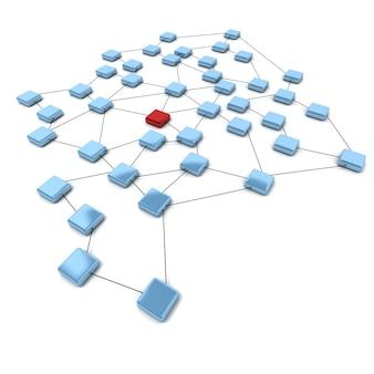 Renderização 3d de quadrados azuis e um vermelho conectado por linhas pretas