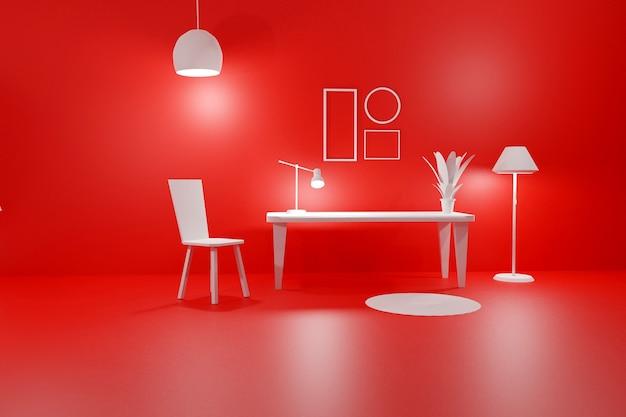Renderização 3d de quadros vazios interiores modernos de sala