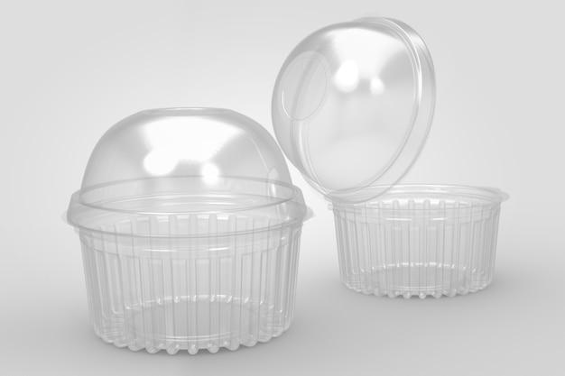 Renderização 3d de recipientes de bolo de copo transparentes vazios isolados no branco