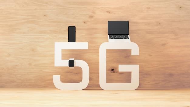Renderização 3d de rede sem fio 5g. notebook, smartwatch e celular no conceito de sinal 5g, sistema de telecomunicações mais rápido