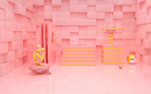 Renderização 3d de rosa romântico com paredes em forma de cubo