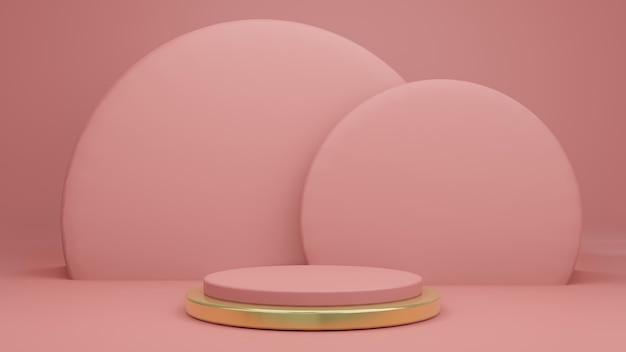 Renderização 3d de rosa velha rosa com suporte de produto rosa e dourado