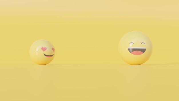 Renderização 3d de rostos de emoji, amor e felicidade